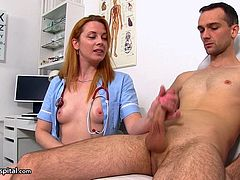 Check out this smoking hot and horny redhead nurse giving her patient a nice hand job as a part of his treatment.Watch her stroking his cock in HD.