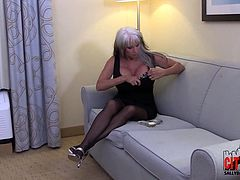 Check out this smoking hot and hungry for cock blonde granny with big tits getting her pussy drilled.Watch her sucking and fucking in HD.