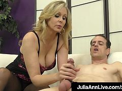 Fine FemDom Cougar Julia Ann Teases Cock With Hosed Feet!