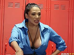 Missy is an excellent coach because she really knows how to motivate her players. The busty milf pulls out her huge boobs and before long her players are getting rock hard. The Latina goddess gives amazing blowjobs and titjobs.