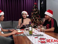 Sexy big tits brunette Stepmom invites her both Stepson's to a christmas dinner in her place to remember the good old days including when her Stepson's fucks her very hard separatly so they agree to fuck her Stepmom hard at the same time