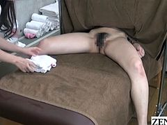 JAV lesbian massage clinic featuring tan therapist in uniform with stark naked client receiving secret cunnilingus clitoral stimulation treatment with English subtitles