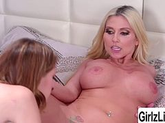 Lena Anderson and her bf are busy watching until she saw her bf stepmom Christie Stevens goes upstairs. Then afterwards, Lena follows Christie and then these two share kisses passionately. Then Christie wraps her lips around Lenas pussy. In return, Lena eats Christies wet pussy.