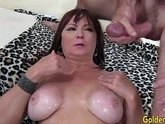 Sexy n hot mature woman gets her tits sucked and pussy licked and fingered by a mature guy Then she gets her old pussy fucked with his hard cock in many positions He spills cum over her tits and she suck it