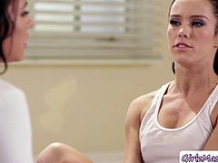 Sexy Instructor Adriana Chechik teaches Megan Rain some sweet yoga class. Then, later on, Megan falls out and her legs got pain then Adriana assists her with a massage. Then Adriana massage Megan so romantic until this horny Megan eats Adrianas pussy and get squirts.