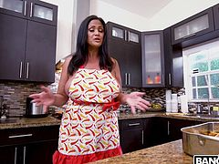 Kailani Kai was cooking for Derrick Ferrari and his friend but those two did not like it. So she offered her voluptuous natural breasts on top of the meal. That was more like it. Derrick started to eat her ass. Then she gave him a nice titty fuck and sucked his big dick. He started to fuck her doggy, then missionary and last not least sideways on the counter. He fucked her deep and came right inside her pussy. His cum was slowly running out, dripping down her legs.