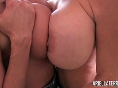 Ariella Ferrera and Deauxma loves to play with their big, plump tits as you will see. These sexy milfs shake their tits, rub them together then grind their pussies against each other!