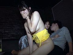 Threesome Fuck In A Japanese Oppai Club