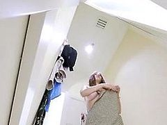 Bitch playing with pussy in changing room 2